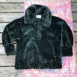 Vintage Furgery stripe zip up faux fur coat